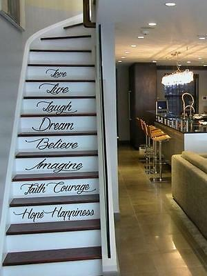 Home Decoration - Live Hope Laugh Stairs Wall Quote Decal Sticker Decal Vinyl Art Home Decor
