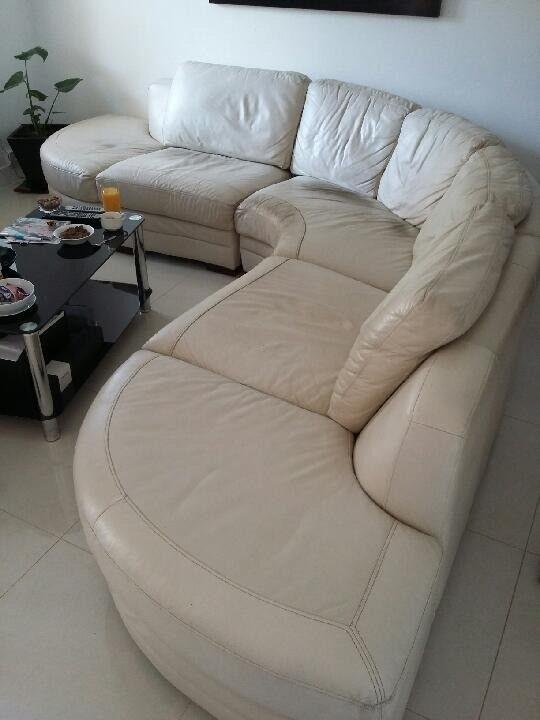 Curved Corner Sofa Cream White