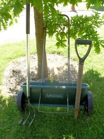 Lawn seed spreader & two other tools