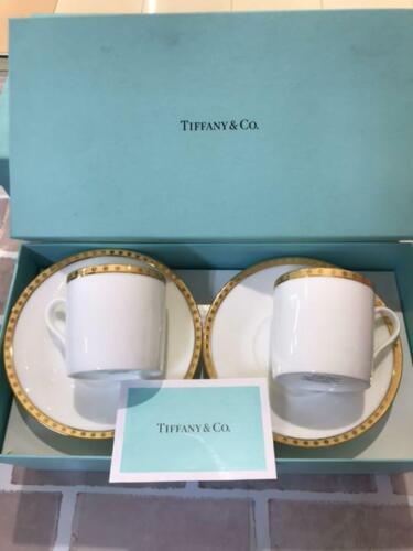 TIFFANY & Co. Pair demitasse cup and saucer Gold Band Pair Cup Coffee Cup