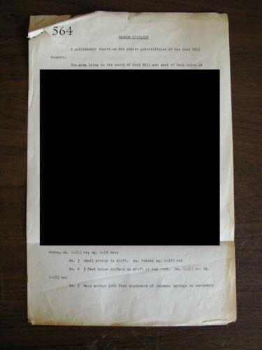 BISBEE WARREN MINING DISTRICT ARIZONA PLACER GOLD IN GOLD HILL REPORT 1911