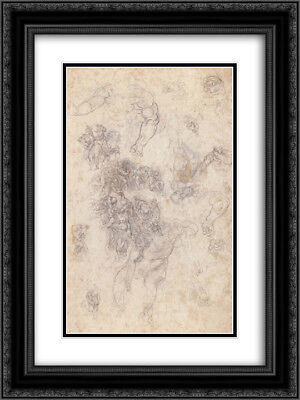 "Michelangelo 2x Matted 20x24 Framed Art Print 'Studies for ""The Last Judgement""'"