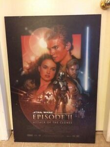 Star Wars Episode II Poster with Wooden Backing