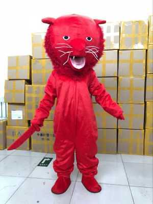 Hot Fashion Adults RED Panther Mascot Costume Dress Halloween Party Cosplay Game