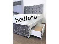 Double Divan Crush velvet Bed with memory foam or Orthopedic mattress