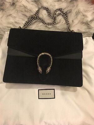 New Gucci Dionysus Black Suede Shoulder Bag Purse