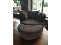 DFS large Snuggle chair/sofa with footstool