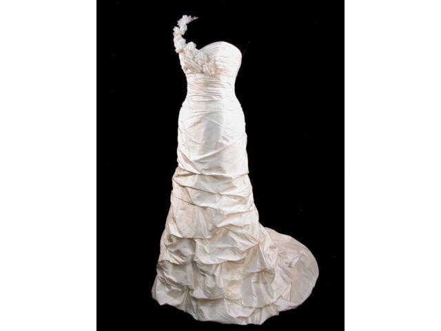 Dupioni Silk Paloma Blanca Fit & Flare Bridal Gown Wedding Dress 10
