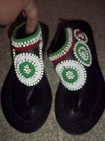 Kenyan leather beaded sandals