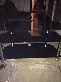 Black Glass Coffee Table and TV stand