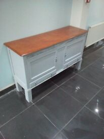 RESTORED WOODEN COUNTER/SIDEBOARD (£80 ONO)