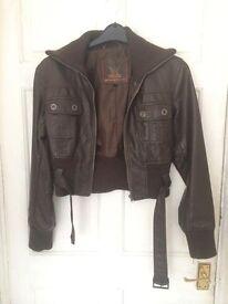 Ladies leather look bomber jacket size 12