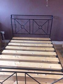 Steel hand fabricated kingsize sleigh style bed
