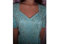 Stunning Vintage aqua blue pearl & silver beaded Top size 12/14