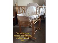 Claire de lune Moses basket with rocking stand
