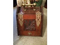 Old Wooden Coal Scuttle with liner and shovel. Brass detail.