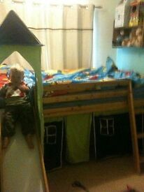 Mid sleeper bed with slide, tent and tunnel
