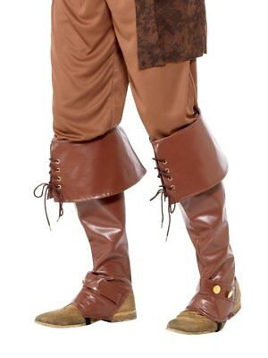 MENS BOOTS SHOES SPATS TOPS COVERS PIRATE COLONIAL RENAISSANCE COSTUME - Mens Brown Pirate Boots