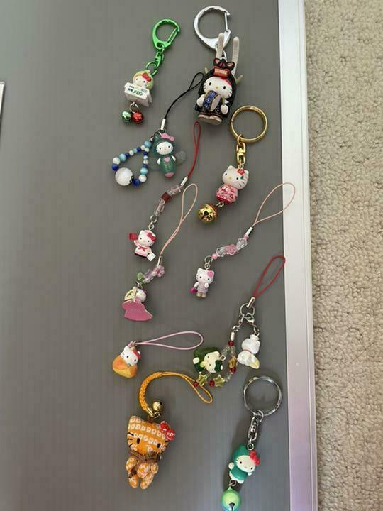 Vintage SANRIO Gotochi Hello Kitty Mini Keychain Charm Strap Bundle Bulk Sale