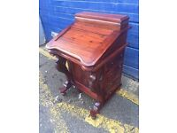 Beautiful Vintage Carved Davenport Writing Desk