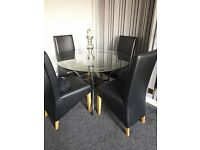 DINNING TABLE WITH 4 LEATHER CHAIRS