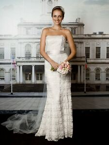 Ivory Satin and Lace Wedding Dress & Bolero Kitchener / Waterloo Kitchener Area image 1