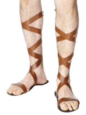 ADULT ROMAN SOLDIERS SPARTAN GLADIATOR WARRIOR TROJAN COSTUME SANDALS BROWN  (Roman Sandals Costume)