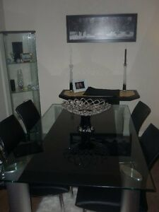 Chrome Legged Glass Table/Buffer Table- Pick Up Only Before Tues