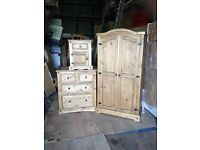 New Mexican pine 2 door robe 2+2 chest 1 locker free delivery