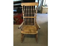 Antique beech and elm rocking chair
