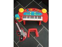Kids piano, stool and guitar