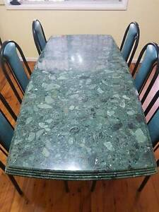 Solid green granite dining table including 6 chairs Canley Vale Fairfield Area Preview