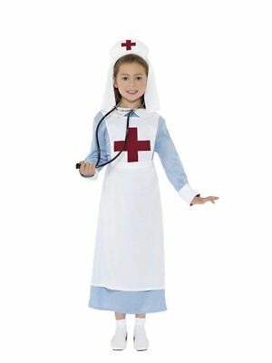 CHILD GIRL WW1 WAR TIME HOSPITAL VINTAGE NURSE DOCTOR COSTUME HAT APRON WHITE - Nurse Costume Kids