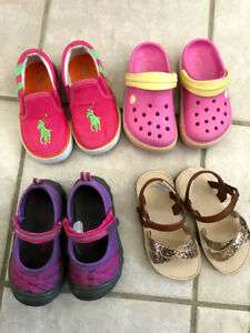 4 pairs of size 6 girls shoes Polo Kids Crocs MAP Gymboree