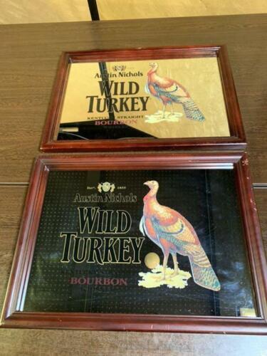 Vintage WILD TURKEY Bourbon Bar Mirror Set Advertising Wood Frame 34 x 46