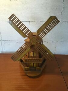 Vintage Kitch wooden Windmill table lamp (vgc) unusual retro Invermay Launceston Area Preview
