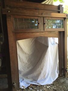 Solid wood antique fireplace mantel