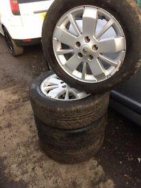 RENAULT 5 STUD SET OF 4 ALLOY WHEELS WITH 4 NEW TYRES