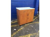 Pretty Vintage Pine Kitchen Cabinet with Formica Top