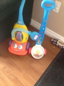 Talking vacuum and popper and baby sled