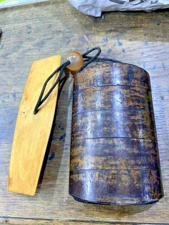 Japanese inro Netsuke deer horn wood ojime