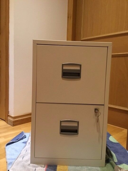 Metal Filing Cabinet 2 Drawer Office Storage Industrial Stationary Lockable Home white