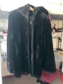 Faux fur Italian woman coat with hood. Size 12-14