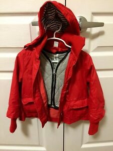 "Girl red ""leather"" jacket. 2-3 Y"
