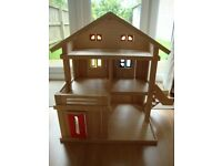 Large Terraced Wooden Childs Play Dolls House, includes Dolls, Furniture & Accessories