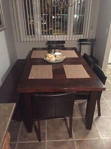 8 person solid wood harvest table