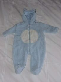 Pale Blue Bear Style Snowsuit with ears – 3-6 MONTHS