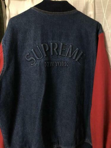 Supreme jeans sergé veste université 14aw manteau extérieur l taille bleu rouge
