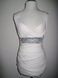 Sexy White Bodycon Party Cruise Evening Summer Dress Jewels 10/12UK NEW