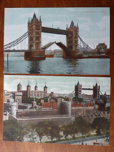 Lot83c-2x-LONDON-Tower-of-London-TOWER-BRIDGE-Postcard-c1907